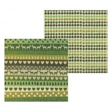 Бумага двухсторонняя для скрапбукинга Олени и зелёные сердца