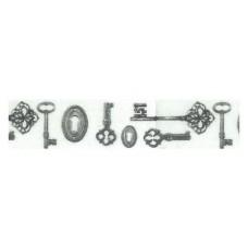 Лента клейкая декоративная Винтажные ключи
