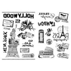 Набор переводных изображений (Transfer) Почтовые штампы стран