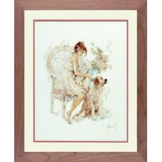 Набор для вышивания Girl In Chair With Dog LANARTE (арт.33826)