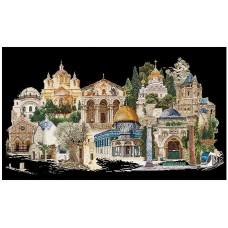 Набор для вышивания Иерусалим, канва аида (черная) 18 ct