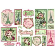 Карта для декупажа Париж в цветах