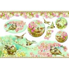Карта для декупажа Птицы в весеннем саду