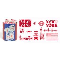 Набор текстильных штампиков для оттисков на тканях Лондон и Нью-Йорк