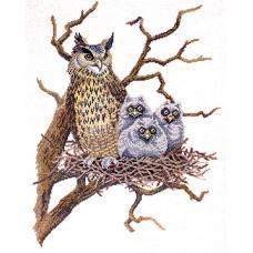 Набор для вышивания Сова с совятами в гнезде, лён 26 ct