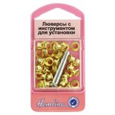 Набор блочек 5 мм с устройством для установки, цвет золотистый