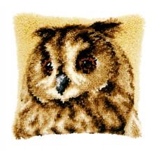 Подушка Коричневая сова, набор ковровой техники