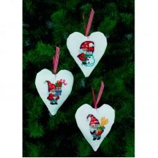 Набор для вышивания Санта и Снеговик, украшение на ёлку, набор из 3 шт
