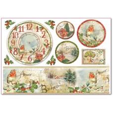 Бумага рисовая Часы, цветы и поэзия