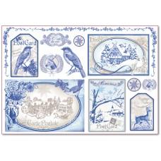 Бумага рисовая Синие открытки
