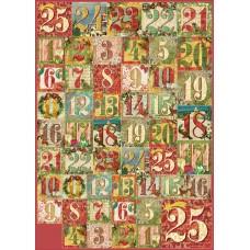 Карта для декупажа Рождественские цифры