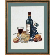 Набор для вышивания Сыр и красное вино, лён 26 ct