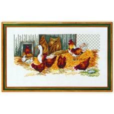 Набор для вышивания Курицы и гусь, лён 26 ct