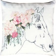Набор для вышивания  подушка Лошадь в розах, Luca-S