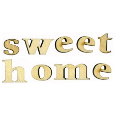 Набор букв Sweet Home, высота 15 мм, толщина 6 мм, фанера
