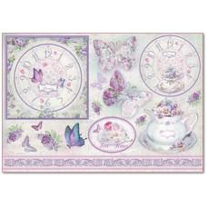 Бумага рисовая Часы, бабочки и сирень