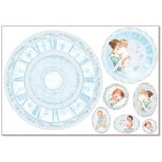 Бумага рисовая Часы для малыша