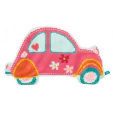 Подушка фигурная  Розовый автомобиль набор для вышивания