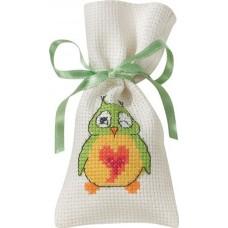 Мешочек набор для вышивания Зелёная сова
