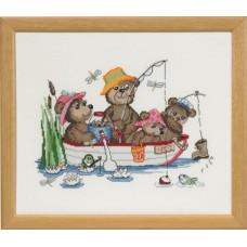 Набор для вышивания Счастливые друзья, рыбалка, канва Aida 16 ct