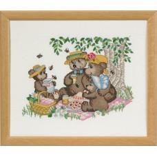 Набор для вышивания Счастливые друзья, пикник, канва Aida 16 ct