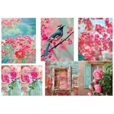 Рисовая бумага А3 Розовое и птичка