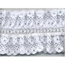 Кружево-рюш на резинке, 40 мм, цвет белый