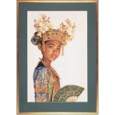 Набор для вышивания Балийская танцовщица, канва лён 24 ct (белый)