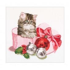 Набор для вышивания Рождественский котёнок, канва аида 16 ct