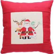 Набор для вышивания  подушка Дед Мороз, олененок и снеговик, Luca-S