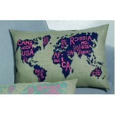 Подушка Карта мира набор для вышивания