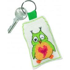 Набор для вышивания Зелёная сова брелок