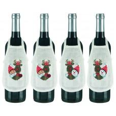 Набор для вышивания Рудольф, фартучки на бутылку, набор из 4 шт