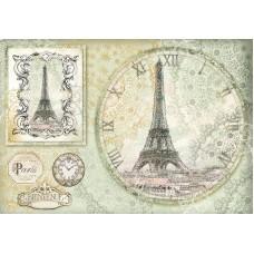 Бумага рисовая Эйфелева башня - часы
