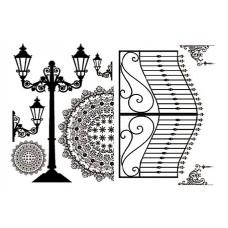 Набор переводных изображений (Transfer) Ворота и уличные фонари