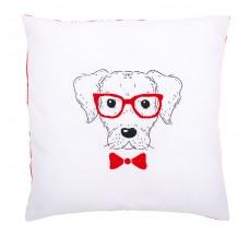 Подушка Собака в красных очках набор для вышивания