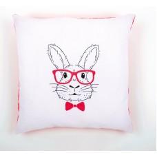 Подушка Кролик в розовых очках набор для вышивания