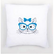 Подушка Кошка в синих очках набор для вышивания