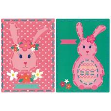 Набор для вышивания из 2-х сюжетов Кролики на перфорированной бумаге