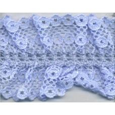 Кружево-рюш на резинке, 40 мм, цвет голубой