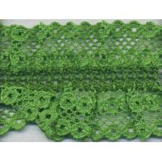 Кружево-рюш на резинке, 40 мм, цвет зеленый