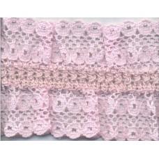 Кружево-рюш на резинке, 40 мм, цвет светло-розовый