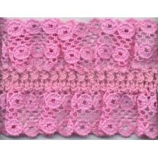 Кружево-рюш на резинке, 40 мм, цвет розовый