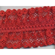 Кружево-рюш на резинке, 40 мм, цвет красный