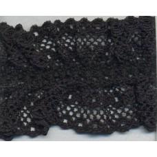 Кружево-рюш на резинке, 40 мм, цвет черный