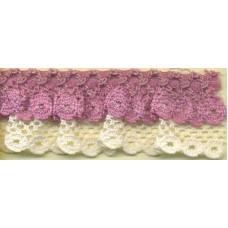 Двойное кружево стрейч, 25 мм, цвет темно-розовый/бежевый