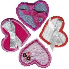 Термоаппликации HKM набор Сердечки арт.33721+33722+333720+33719, 4 шт
