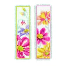 Закладка Красочные цветы набор для вышивания, 2 дизайна