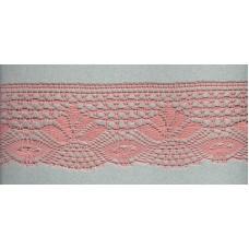 Мерсеризованное хлопковое кружево, 70 мм, цвет серо-розовый