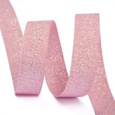 Тесьма киперная металлизированная 10 мм полиэстер TBYT06 цв.S221 розовый уп.22,85м